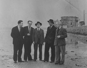 JOHN RYAN, ANTHONY CRONIN, BRIAN O'NOLAN, PATRICK KAVANAGH, TOM JOYCE, SANDYMOUNT STRAND, BLOOMSDAY 1954